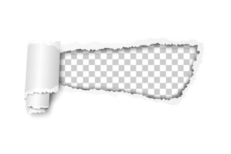 Torn, snatched hole in white paper. Transparent checkered background of the resulting window. Vector template paper design.