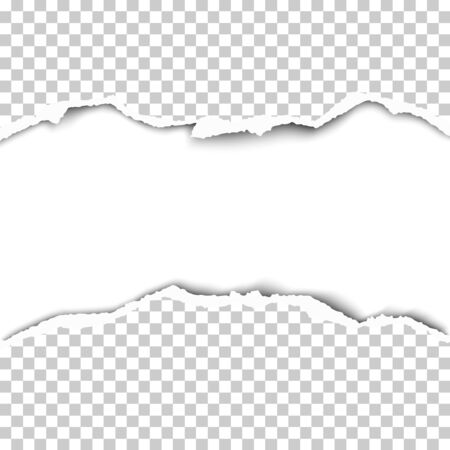 Snatched middle of transparent paper with rough edges, soft shadow and white background of resulting hole with space for text, ad and other aims. Vector paper template. Ilustração