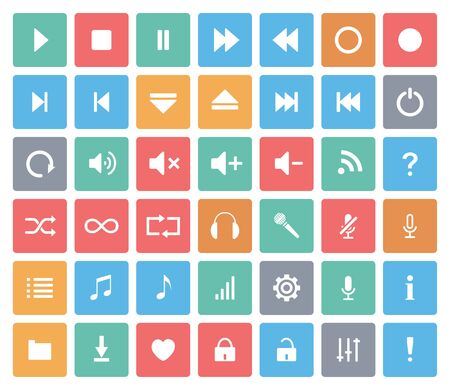 Vector media player color icons set