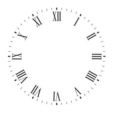 Vector clock face blank with roman numerals 向量圖像