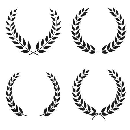 Ensemble de vecteurs de couronnes de laurier de différentes formes isolés sur fond blanc
