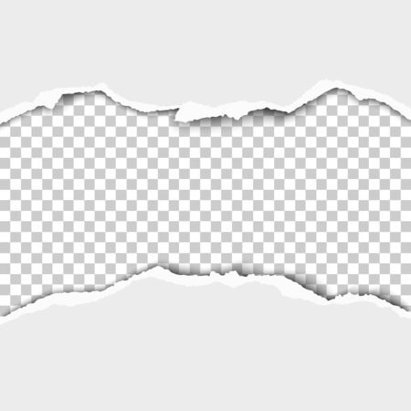 Snatched middle of white paper with torn edges, soft shadow and transparent checkered background of resulting hole. Vector paper template.