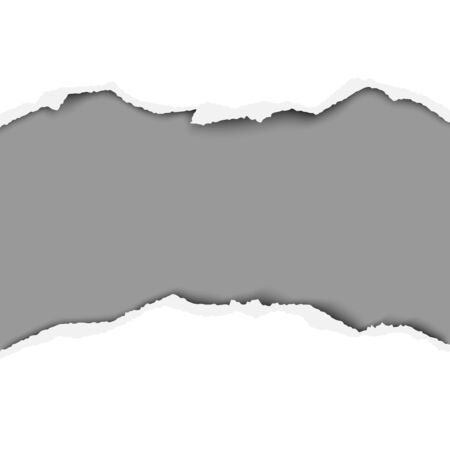 Tattered middle of white paper with torn edges, soft shadow and dark gray background of the resulting hole. Vector paper template.