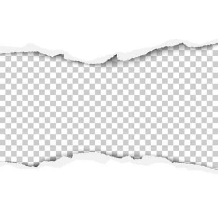 Torn strip from the middle of a white sheet of paper. Transparent background of the resulting hole for text, ad and other aims. Vector illustration.