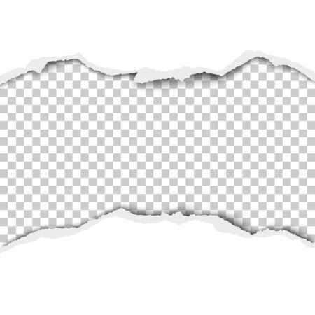 Snatched middle of white paper with transparent background under it. Vector template paper design.