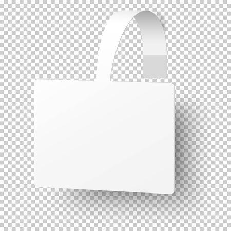 Wobbler de papier d'étagère de supermarché auto-adhésif rectangulaire blanc de vecteur, bannière de prix isolée sur fond transparent. Conception de modèle.