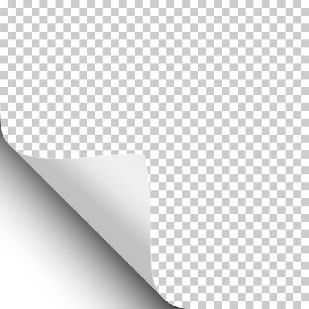 Vector sheet of transparent paper with curled lower left corner, soft shadow and white sheet under it. Ilustração