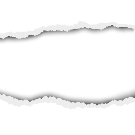 Vector tattered hole in white sheet of paper. Template design.