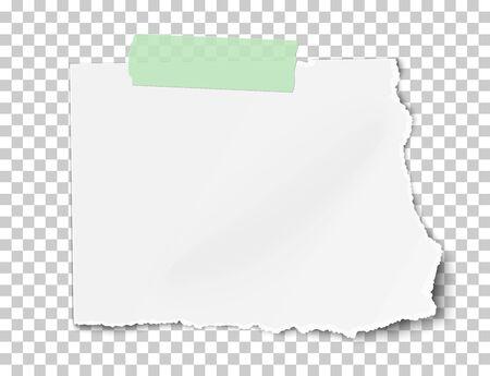Vektor rechteckiges zerrissenes Blatt Papier mit weichem Schatten auf grünem klebrigem Klebeband auf transparentem kariertem Hintergrund. Vorlage Papierdesign.