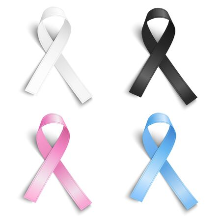 Set of realistic light blue, rosy, pink, black, white ribbons, world hope symbols, vector illustration.