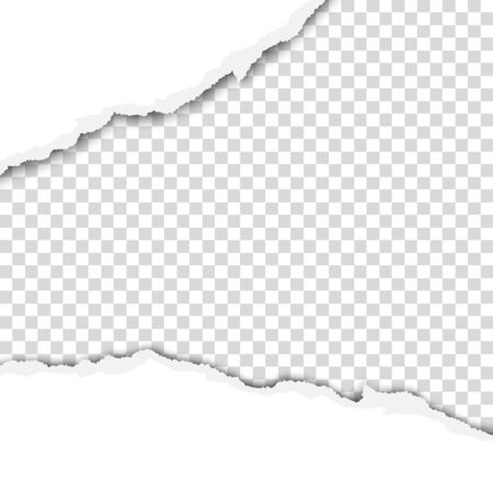 Ragged wide strip in sheet of white paper. Transparent background of the resulting hole. Vector template paper design.