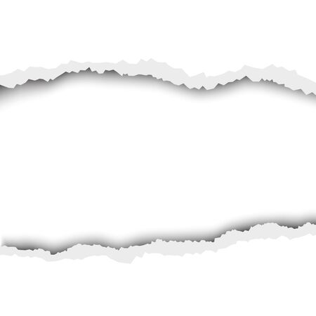 Torn hole in white sheet of paper. Vector template paper design.
