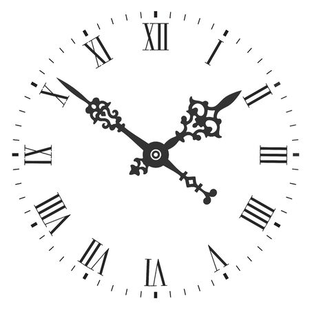 Elegant clock face with roman numerals and tick marks placed on a white background