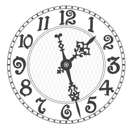 Elegant clock face and clock hands with tick marks placed on a white. Vector illustration.