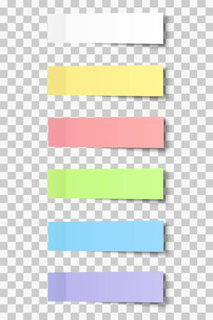 Colour post note stickers with shadow, paper sticky tapes set placed on transparent background. Vector color post sticks. Illustration