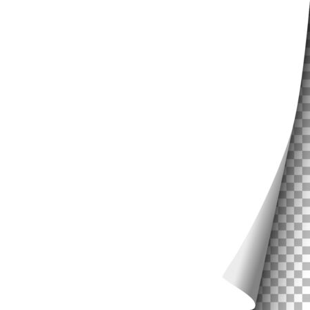 Sheet of white paper with curled corner and transparent background under it. Vector template paper design. Ilustração Vetorial