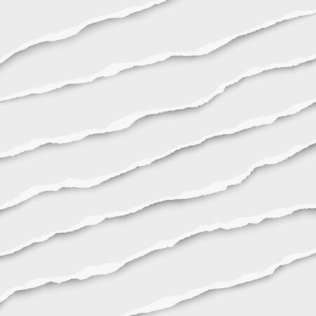 Oblong layers of torn white paper tears placed one over another. Vector illustration. Illustration