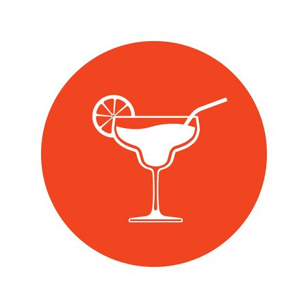 Cocktail wineglass icon placed in bright red circle. Vector illustration.