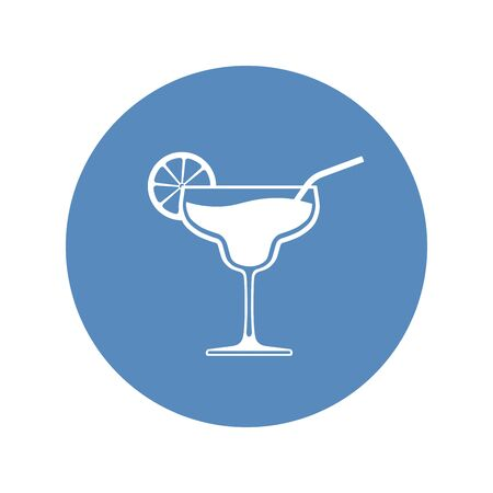 Cocktail wineglass icon placed in blue circle. Vector illustration.