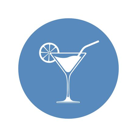 Wine cocktail glass icon placed in blue circle. Vector illustration. Çizim