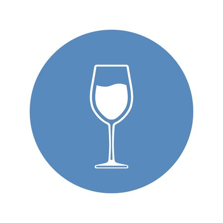 Wineglass with wine placed in blue circle. Vector icon.