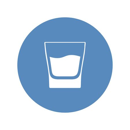 White glass with whiskey placed in blue circle. Vector icon.
