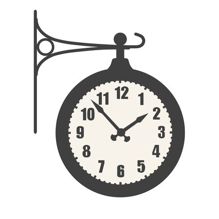 Train station clock vector icon isolated on white background