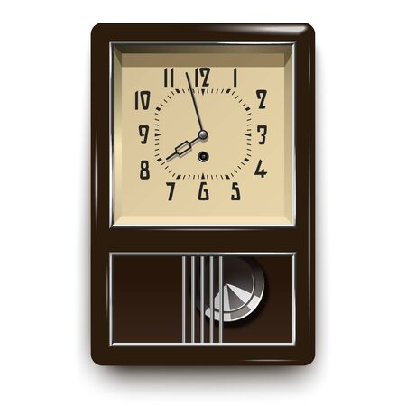 Vintage mechanical wall clock with pendulum. Rectangular shape of body. Vector illustration.