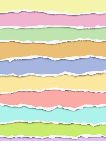 Layered oblong torn different pastel color paper fragments positioned one under another with soft shadow. Vector paper template.