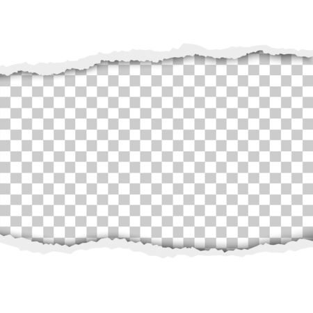 Torn hole in white sheet of paper with transparent background. Vector template paper design.