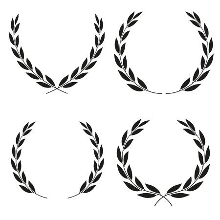 Laurel wreaths icons of different shapes collection isolated on white background. Set of icons.