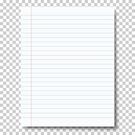 Ruled sheet of notebook paper placed on transparent background. Vector paper template. Vektorové ilustrace