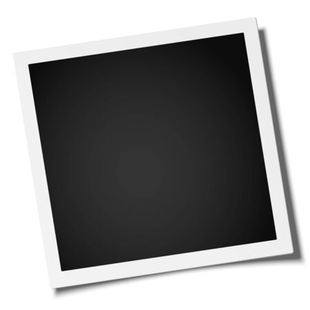 Vector retro realistic square photo frame placed on white. Template photo mock-up.