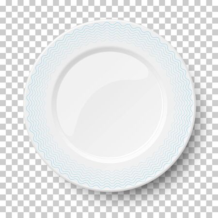 Empty classic white dish with wavy blue patterns isolated on transparent background. View from above. Vector illustration.