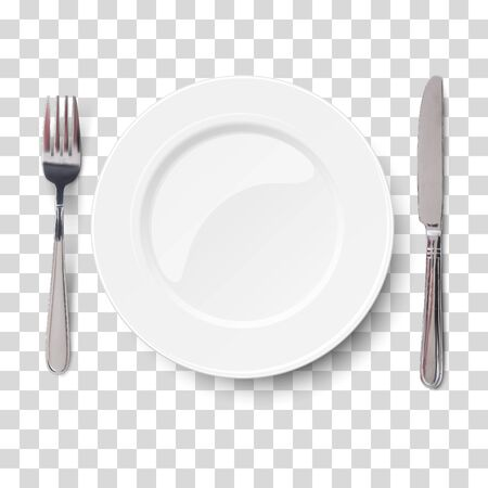 Empty plate with knife and fork isolated on a transparent chequered background. View from above.