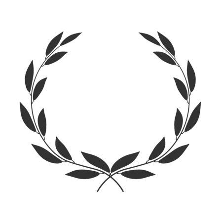 Laurel wreath isolated on white background. Vector icon illustration.