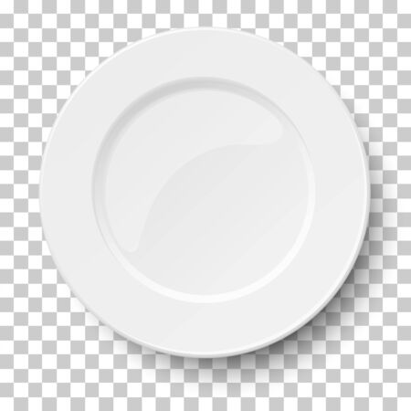 Empty classic white plate isolated on transparent background. View from above.
