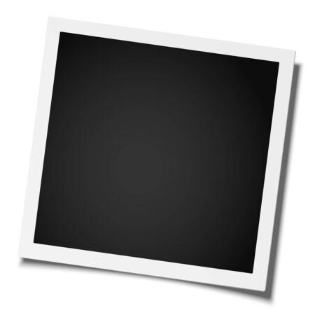 Retro realistic square photo frame placed on white. Vector template photo design.