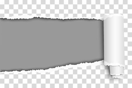 Oblong snatched hole in transparent sheet of paper from left side to right side with paper curl and gray resulting background. Vector paper template design.