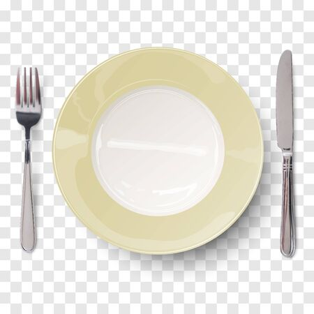 Empty plate in ivory white design with knife and fork isolated on transparent background. View from above.