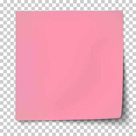 Office pink paper sticker with bent lower right and shadow isolated on transparent background. Template vector post note.