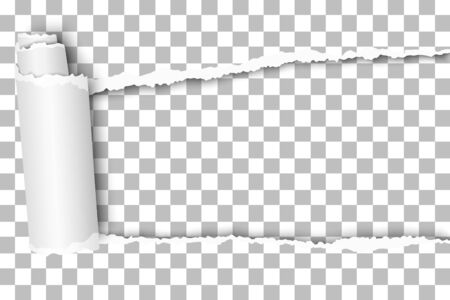 Oblong snatched hole in transparent sheet of paper from right to left side with paper curl. Vector paper template design.