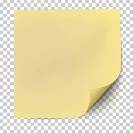 Office yellow paper sticker with curled the lower right corner and shadow isolated on transparent background. Template vector post note.