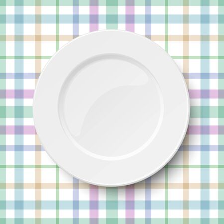 Empty classic white plate placed on a kitchen tablecloth of pastel color stripes. Vector illuatration.
