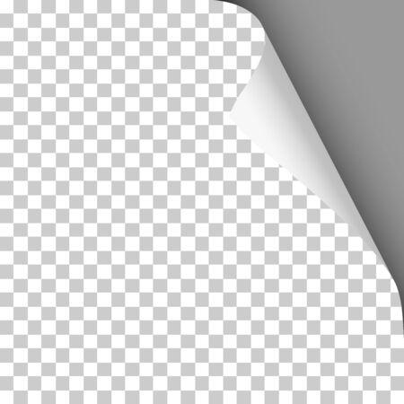 Vector sheet of transparent paper with twisted upper right corner and dark gray background under it. Element for ad. Ilustração Vetorial