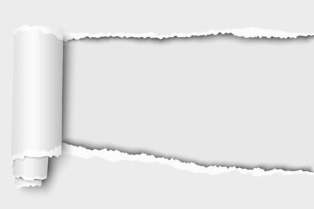 Oblong snatched hole in white sheet of paper from right side to left side which edges have shadow and paper curl. Vector paper template design.