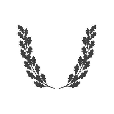 Vector oak wreath icon isolated on white background