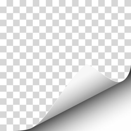 Vector lower right curl of corner of transparent sheet of paper.
