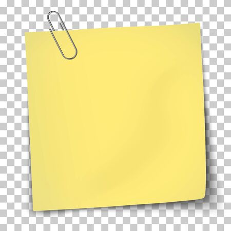 Vector paper template of yellow note attached by metallic paper clip placed on transparent background.