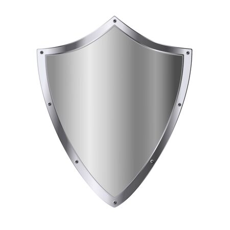 Silver shield as symbol of security assurance isolated on white background. Vector illustration.